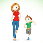 3d Mother and Son Running — Stock Vector