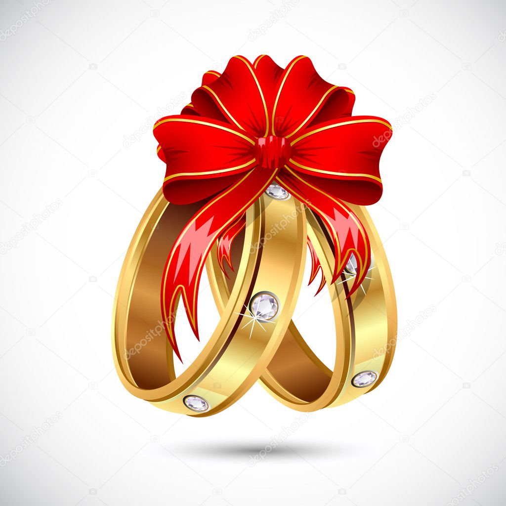 Illustration of pair of engagement ring wrapped in ribbon  Stock Vector #10804874