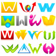 Different Icon with alphabet W — Stock Vector