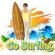 Stock Vector: Go Surfing