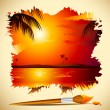 Painting of Sunset View — Stock Vector