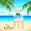 Painting of Sea Beach — Stock Vector