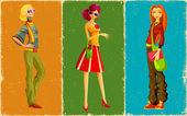 Dame de style rétro — Vecteur