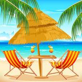 Chair on Beach — Stock Vector