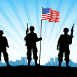 Foto Stock: American Army with Flag