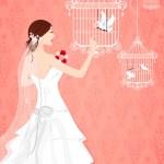Bride with Bird Cage — Stock Photo