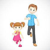 Vader en dochter spelen — Stockfoto