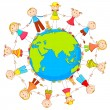Kids around Earth - Stock Vector