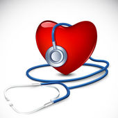 Stethoscope around Heart — Stock Vector
