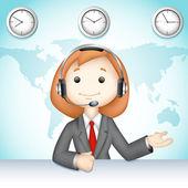 Call Center Lady — Stock Vector