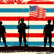 American soldier standing with American flag - Stock Vector