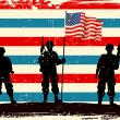American soldier standing with American flag — Stock Vector