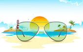 Sea View through Sun Glasses — Stock Vector