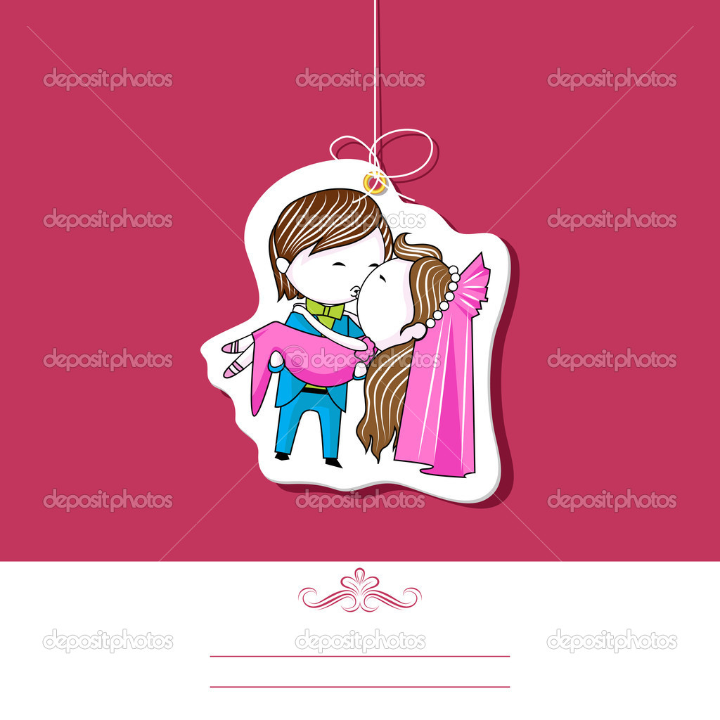 Illustration of kissing couple on wedding invitation template — Stock Vector #11477359