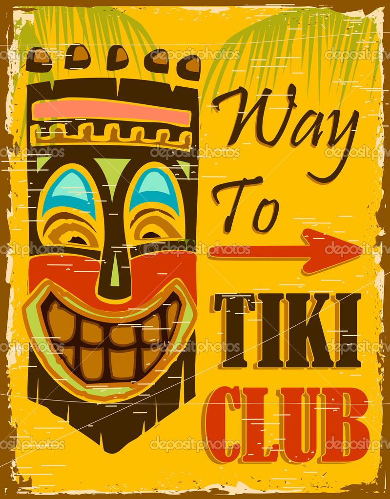 Illustraion of vintage poster for way to tiki club — Stock Vector #11477366