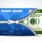 Dollar in Kreditkarte — Stockvektor