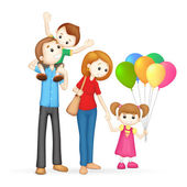 3d Happy Family in vector — Stock Vector