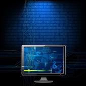 компьютер на фоне бинарных — Cтоковый вектор