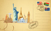 Travel Postcard — Stock Vector