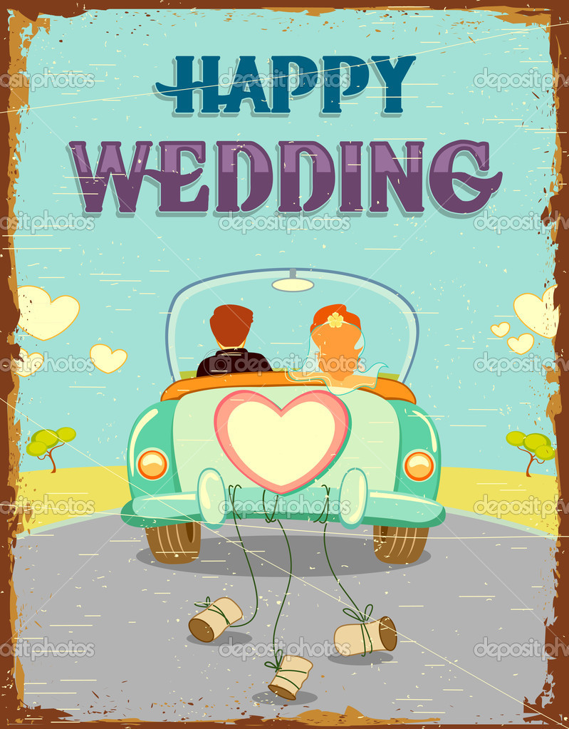 Illustration of just married couple in car on vintage background — Stock Vector #11678237