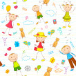Kid Birthday Background - Stock Vector