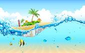 Island from Underwater — Stock Vector