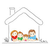 Family in Sweet Home — Stock Vector