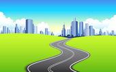 Highway going to City — Stock Vector