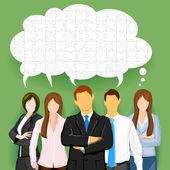 Equipe de negócios com bolha de bate-papo perplexo — Vetorial Stock