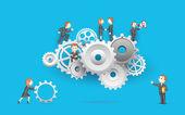 Business on Cog Wheel — Stock Vector
