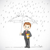 Business man under Umbrella — Stock Vector