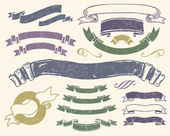 Vintage ribbons set — Vector de stock