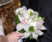 Bride with bouquet, closeup — Stock Photo