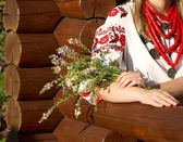 The girl in the Ukrainian national costume — Stock Photo