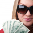Stock Photo: Sexy blond womwith money