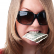 Sexy blond woman with dollars — Stock Photo