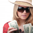 Royalty-Free Stock Photo: Sexy blond woman with money