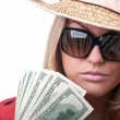 Blond woman with dollars — Stock Photo