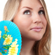 Woman portrait with fan — Stock Photo