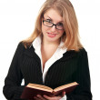 Stock Photo: Young business woman with book