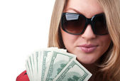 Sexy blond woman with money — Stock Photo