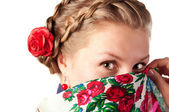 Mysterious woman in the ukrainian style — Stock Photo
