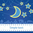 Royalty-Free Stock Vector Image: The stars and the moon hanging on a thread over the night city. Tape is sewn to the text