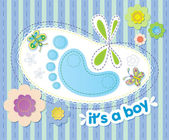 Vector background with congratulations on the birth of a boy — Stock Vector