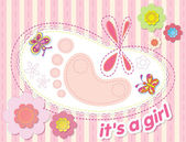 Vector background with congratulations on the birth of a girl — Stock Vector