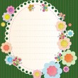 Vector frame with elements of embroidery. Textile flowers and butterflies — Stock Vector
