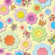 Vector seamless colorful background. Application of flowers and butterflies. Sewing thread — Vektorgrafik