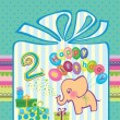 Congratulations for a boy with a 2 year anniversary. Elephant flying hot air balloons — Imagens vectoriais em stock