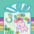 Congratulations for a boy with a 3 year anniversary. Elephant flying hot air balloons — Stock Vector