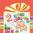 Congratulations to the girls with 2 birthday. Elephant flying hot air balloons — Imagens vectoriais em stock